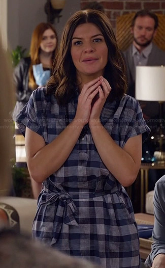 Annie's blue plaid shirtdress on Marry Me