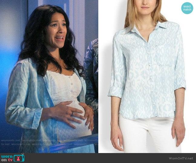Bella Dahl Ikat Leopard Button-down Shirt worn by Jane Villanueva (Gina Rodriguez) on Jane the Virgin