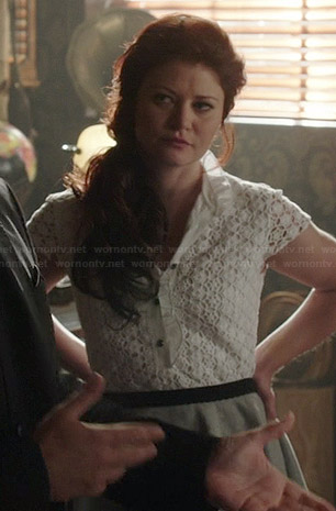 Belle's white lace ruffled trim top on Once Upon a Time