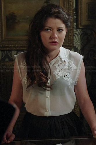 Belle's white sleeveless embroidered top on Once Upon a Time