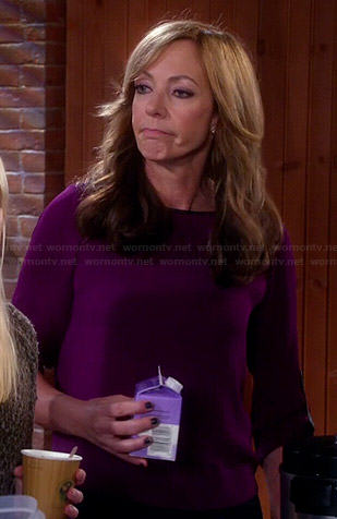 Bonnie's purple blouse with leather trim on Mom
