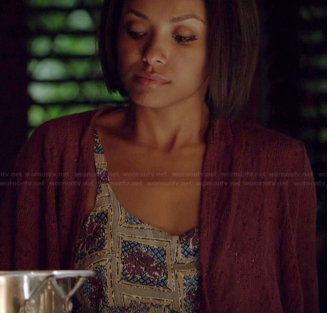 Bonnie's tile printed romper on The Vampire Diaries