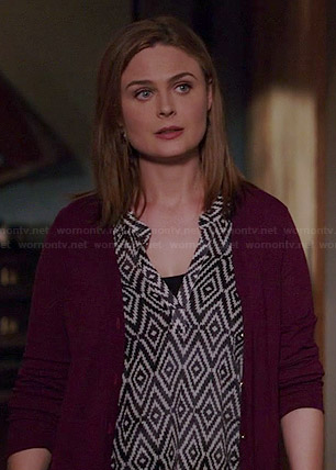 Brennan's diamond print top on Bones