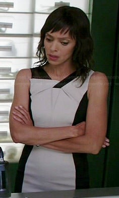 Camille's black and white folded detail dress on Bones
