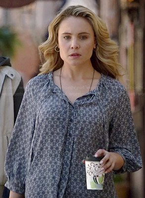 Camille's blue floral printed blouse on The Originals