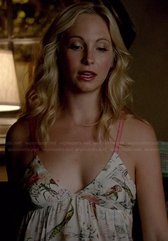 Caroline's white bird print cami on The Vampire Diaries
