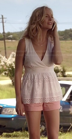 Caroline's white crochet striped surplice top on The Vampire Diaries