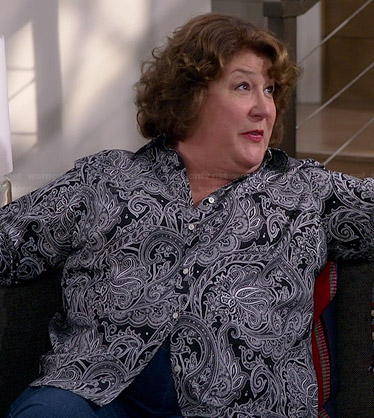 Carol's black paisley shirt on The Millers
