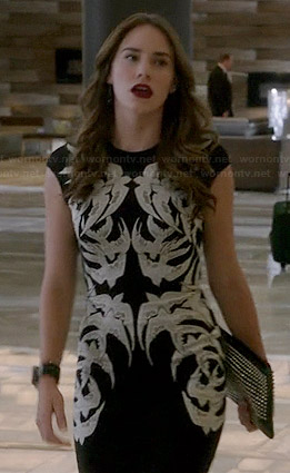 Charlotte's black and white bird dress on Revenge