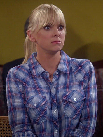 Christy's blue plaid shirt on Mom