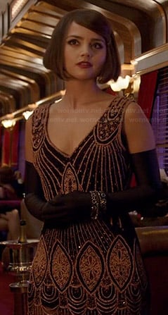 Clara's beaded v-neck dress on Doctor Who