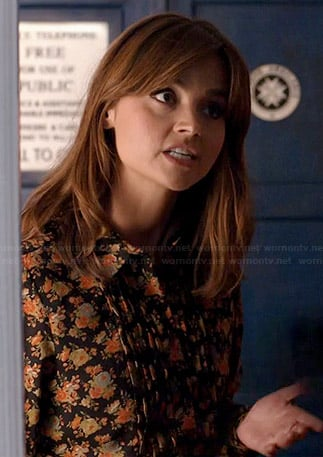 Clara's black floral shirtdress on Doctor Who