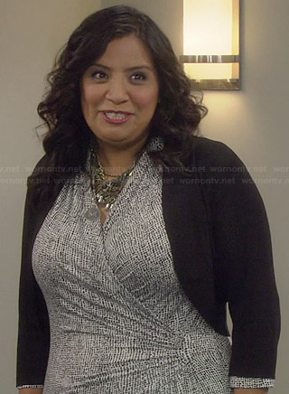 Cristela's black and white printed wrap dress on Cristela
