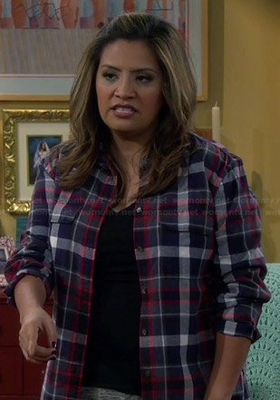 Cristela's navy plaid shirt on Cristela