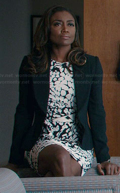 Daisy's black and white animal print dress on Madam Secretary
