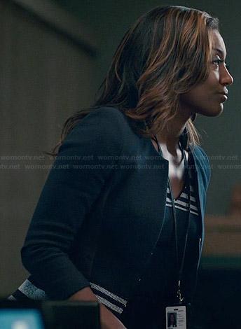 Daisy's striped panel jacket and matching dress on Madam Secretary