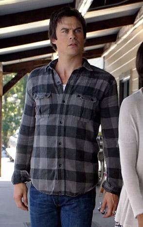 Damon's grey buffalo checked shirt on The Vampire Diaries
