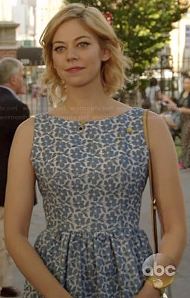 Dana's blue floral fit and flare dress on Manhattan Love Story