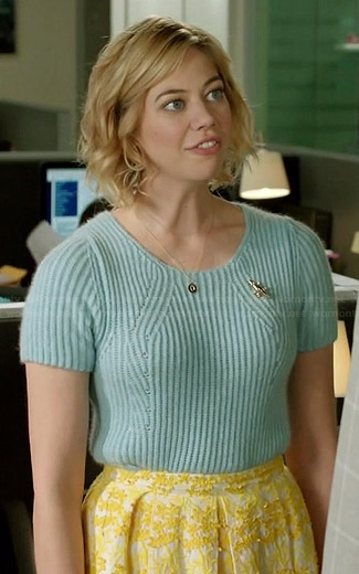 Dana's blue short sleeved sweater and yellow embroidered skirt on Manhattan Love Story