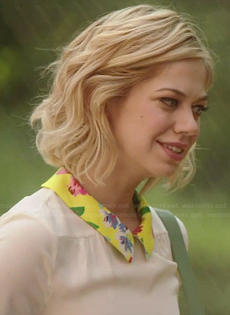 Dana's cream top with floral collar on Manhattan Love Story
