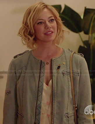 Dana's denim zip jacket on Manhattan Love Story
