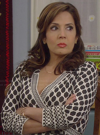 Daniela's geometric printed wrap dress on Cristela