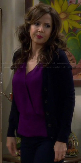 Daniela's purple wrap top on Cristela