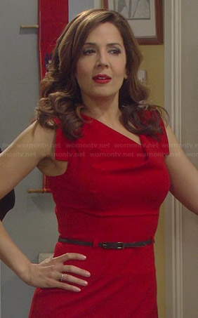 Daniela's red cowl neck dress on Cristela