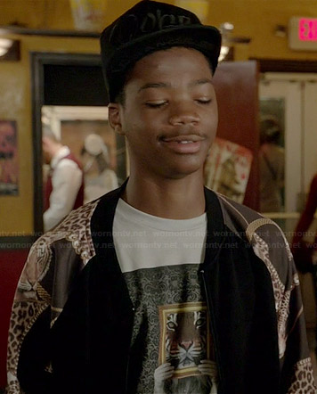 Dash's tiger graphic tee and black bomber jacket with chain printed sleeves on Red Band Society