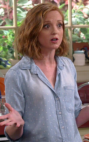 Debbie's polka dot chambray shirt on The Millers