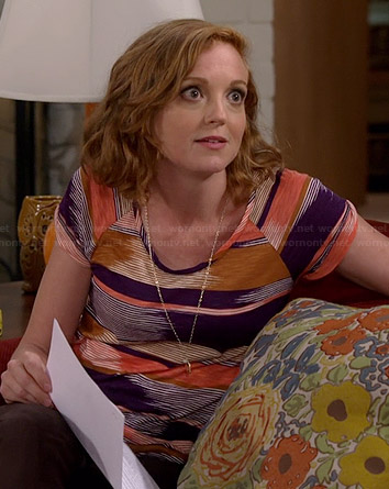 Debbie's purple and orange striped tee on The Millers