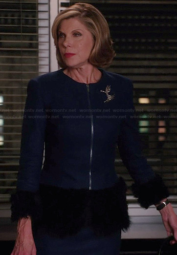 Diane's blue fur trimmed jacket on The Good Wife