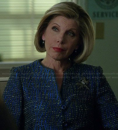 Diane's blue tweed jacket on The Good Wife