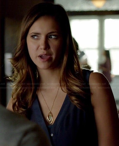 Elena's navy blue v-neck button front top on The Vampire Diaries
