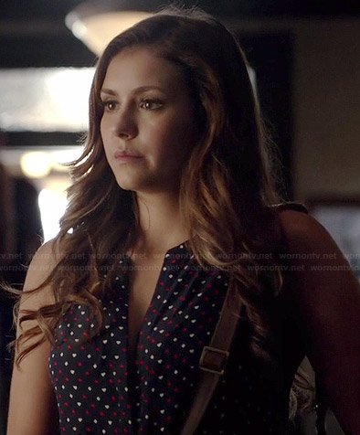 Elena's navy and red heart dotted sleeveless top on The Vampire Diaries