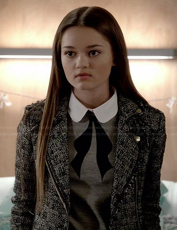 Emma's grey collared bow sweater and tweed moto jacket on Red Band Society