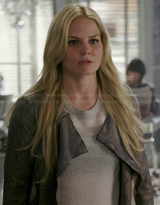 Emma's grey snake leather jacket and grey striped sweater on Once Upon a Time