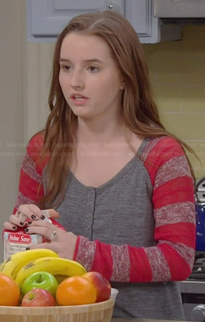 Eve's grey henley top with red striped sleeves on Last Man Standing