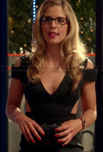 Felicity's black shoulder cutout mini dress on The Flash