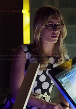 Felicity's black and white polka dot dress on Arrow