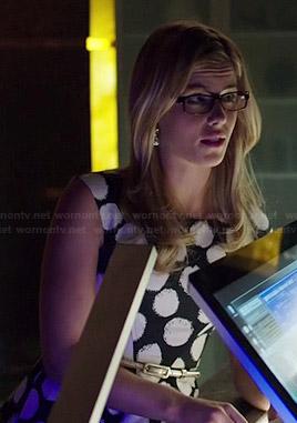 Felicity's black and white polka dot dress on Arrow