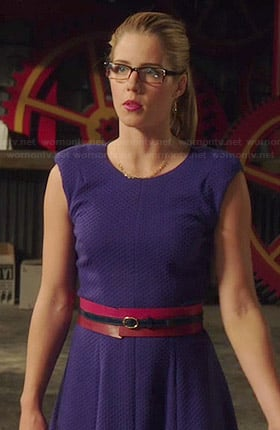 Felicity's blue textured fit and flare dress on Arrow