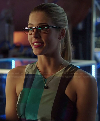 Felicity's checked crop top on Arrow