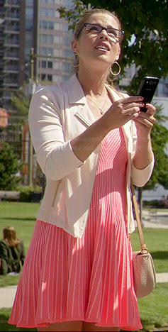 Felicity's neon pink ribbed dress on The Flash