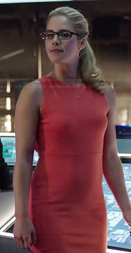 Felicity's orange cutout back dress on Arrow