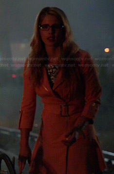 Felicity's peach flared coat on Arrow