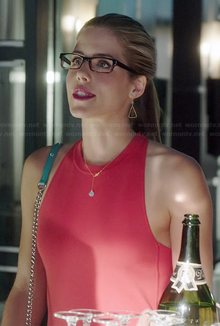 Felicity's orange high-neck cross-back shift dress on Arrow