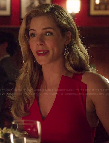 Felicity's red v-neck peplum dress on Arrow