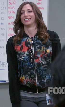 Gina's black multi colored palm print bomber jacket on Brooklyn Nine-Nine