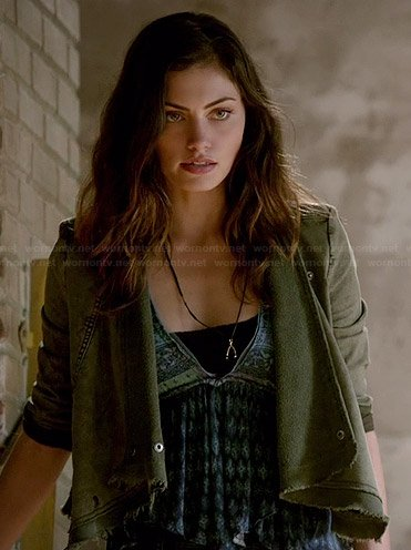 Hayley's green draped front jacket on The Originals